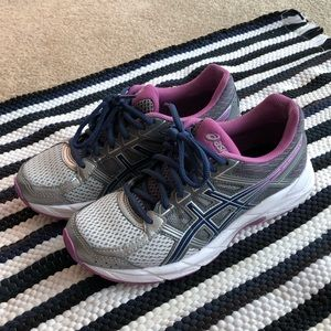 ASICS purple and silver women's running shoes